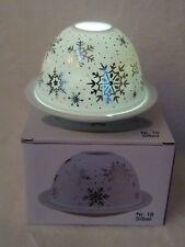 Brilliant Light White & Silver Snowflake Candle Tealight Dome Holder New in Box