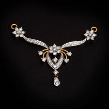 Stunning 1.20 Cts Round Brilliant Cut Diamonds Mangalsutra Pendant In 14K Gold