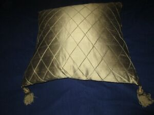 """New Green Silk pillow with tassels 20"""" by 20"""" - feather & Down filling"""