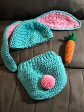 Baby Bunny Hat And Diaper Cover With Carrot