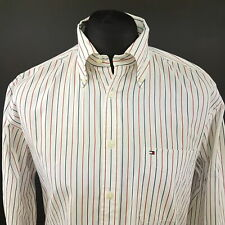Tommy Hilfiger Mens 2 Ply Shirt LARGE Long Sleeve White Regular Fit Striped