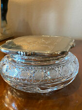 Sterling Silver & Crystal Powder Jar with monogram