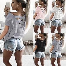 Mujer Holgado Jersey Camiseta manga corta Casual Verano Suéter Camisa Blusa