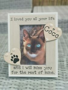 Personalised Cat Memorial Photo Picture Frame. In Loving Memory. Any Wording.