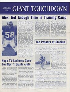 NEW YORK GIANTS - 1970 TOUCHDOWN NEWSLETTER  Files, Hughes, Tarkenton