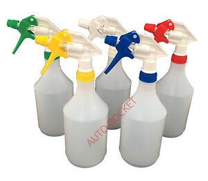 5 x Trigger Spray Bottles 750ml, Amazon Multi Colour chemical resistant heads
