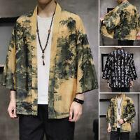 Mens Japanese Kimono Cardigan 3/4 Sleeve Casual Loose Holiday Coat Jackets Tops