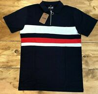Mens Jacamo Navy Blue/White/Red Striped Polo Shirt - UK Size Small 36/38 Chest