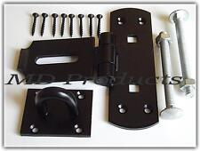 """Vertical Locking Hasp And Staple Heavy Duty Bar Shed Door Gate BLACK 150mm / 6"""""""