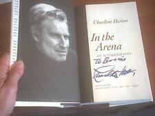 IN THE ARENA Charlton HESTON 1995 SIGNED FIRST EDITION 1st Pr HCDJ Great PICS