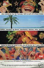 Publicité advertising 1992 Le Carnaval de Nice avec radio RMC