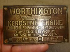 Orig Name Tag for 2-1/2hp Worthington No. 38622 Hit and Miss Gas Engine