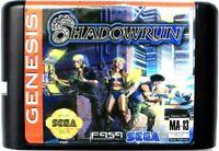 Shadowrun (1994) 16 Bit Game Card For Sega Genesis / Mega Drive System