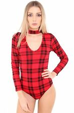 NEW LADIES TARTAN CHOKER NECK LEOTARD TOP SHIRT PARTY BODY SUIT RED SIZE 8-14