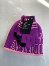 Nwt Youth Girls Under Armour Purple And Pink Hat And Gloves Set