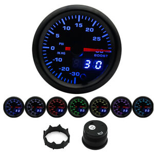 "Dual Display 2"" 52mm LED Car Turbo Boost Gauge PSI Meter Analog Digital 7 Colors"