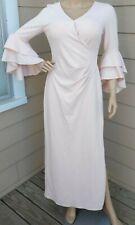 $195 Lauren Ralph Lauren Womens 8 Pink Ruffle Bell Sleeves Evening Dress Gown