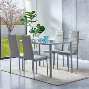 Modern Grey Glass Dining Table+4 Faux Leather Dining Chairs Set Dining Room Home