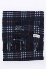GENUINE BURBERRYS PURE CASHMERE BLUE CHECK VINTAGE SCARF MADE IN ENGLAND