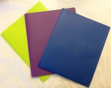 LOT OF 5 - 3 PRONG DOUBLE POCKET FOLDERS - GREEN OR BLUE - PICK YOUR COLORS!!!