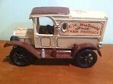 Antique Vintage Cast Iron Toy I. M. MacDonald Fresh Farm Produce Delivery Truck