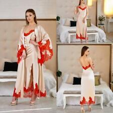 Champagne Bridal Silk Satin Nightgown Dress Lace Long Sleeves Sleepwear Custom