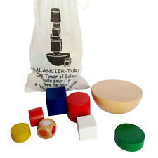 1Set Kids Geometric Wooden Blocks Balancing Montessori Game Toys W/Canvas Bag