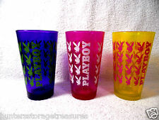 3 GLASSES Playboy Bunny Drink Tumbler Highball Bar Purple Pink Yellow Man Cave