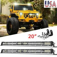 2X 20inch 156W Slim LED Spot Flood Combo Work Light Bar Offroad Truck SUV ATV US