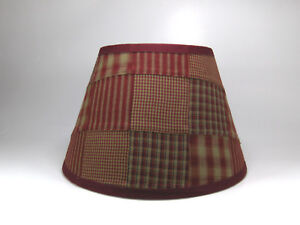 Country Primitive Burgundy Patchwork Quilt Homespun Fabric Lampshade Lamp Shade