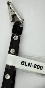 "15"" Black Leather Studded Lanyard Rhinestone Gems Embedded - BLN-800"