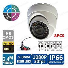 Qty8PCS (CVI/TVI/AHD/CVBS) 1080P IR Dome Weatherproof Security Cameras 4-IN-1