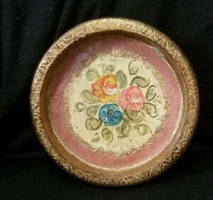FLORENTIA WOOD VINTAGE PLATE HAND CRAFTED FLORENCE ITALY ART DECOR
