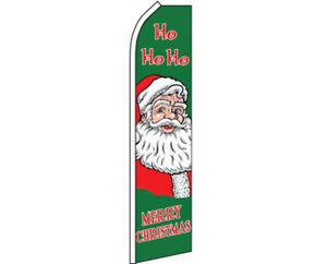 Ho Ho Ho Merry Christmas Santa Green Swooper Super Feather Advertising Flag