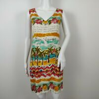 JAMS WORLD Bon Voyage Print Dress Size Small Sleeveless Vintage 90's FLAW READ