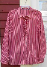 """Unnamed Red/White Striped Long Sleeved Ruffled Button Down Shirt 1X (49"""") EUC"""
