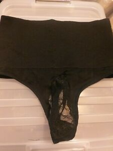 Mens black hi high waist thong gstring g string with lace chastity pouch