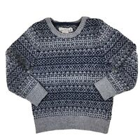 H&M LOGG Women's Blue Gray Wool Blend Sweater Nordic Print Size 4-6Y