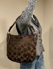 COACH Large Zoe #12676 Brown Signature Hobo Soho Authentic Handbag