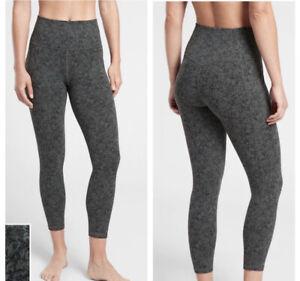 Athleta Salutation Stash Pocket II Textured 7/8 Tight Legging Green Moonflower