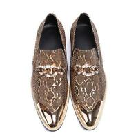 Fashion Mens Serpentine Metal Pattern Pointy Toe Slip On Loafers Nightclub Shoes