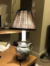 Small Silver Stainless Steel Teapot Accent Table Lamp