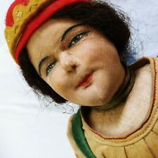 """Antique Fabric Painted Face Doll Gypsy Costume Germany European 12"""" Primitive"""