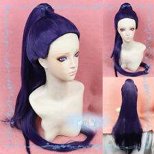 OW Overwatch Widowmaker Amelie Lacroix Dark Purple Cosplay Wig Clip Ponytail