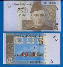 Pakistan P-53a Five Rupees Year 2008 Uncirculated Banknote