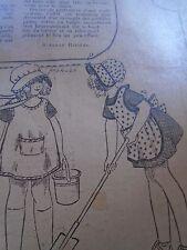 """PATRON ORIGINAL  POUPEE """" BLEUETTE """" TABLIER DE JARDINAGE  SEPTEMBRE  1921"""