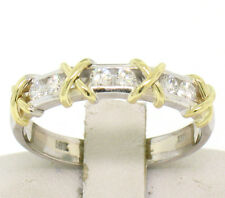 14k 18k Two Tone Gold 0.35ctw Round Diamond Channel X Band Ring