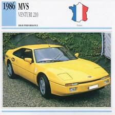 1986 MVS VENTURI 210 Classic Car Photo/Info Maxi Card