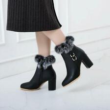 Women Round Toe zip Buckle Strap Ankle Boots Winter Warm  fur Block Heels Shoes