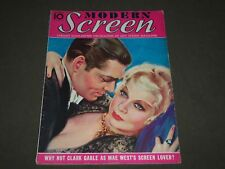 1933 SEPT MODERN SCREEN MOVIE MAGAZINE - CLARK GABLE & MAE WEST COVER - M 48